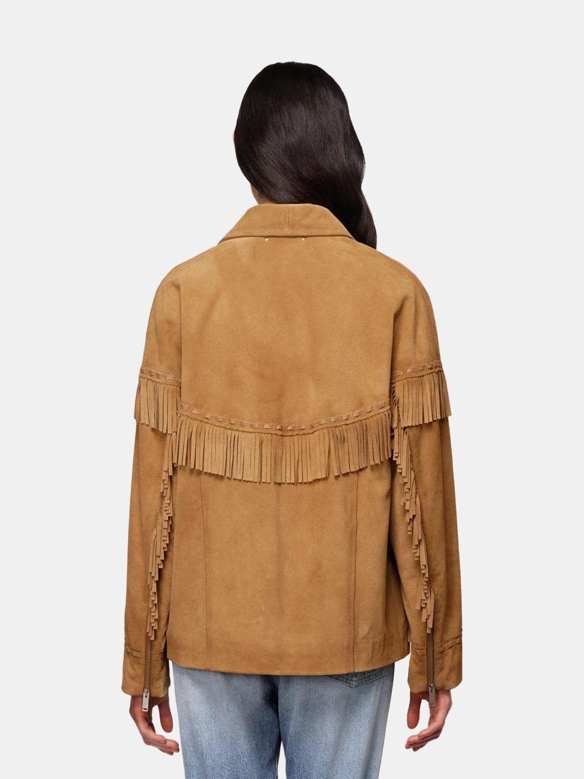 Dallas biker jacket in brown leather with fringes