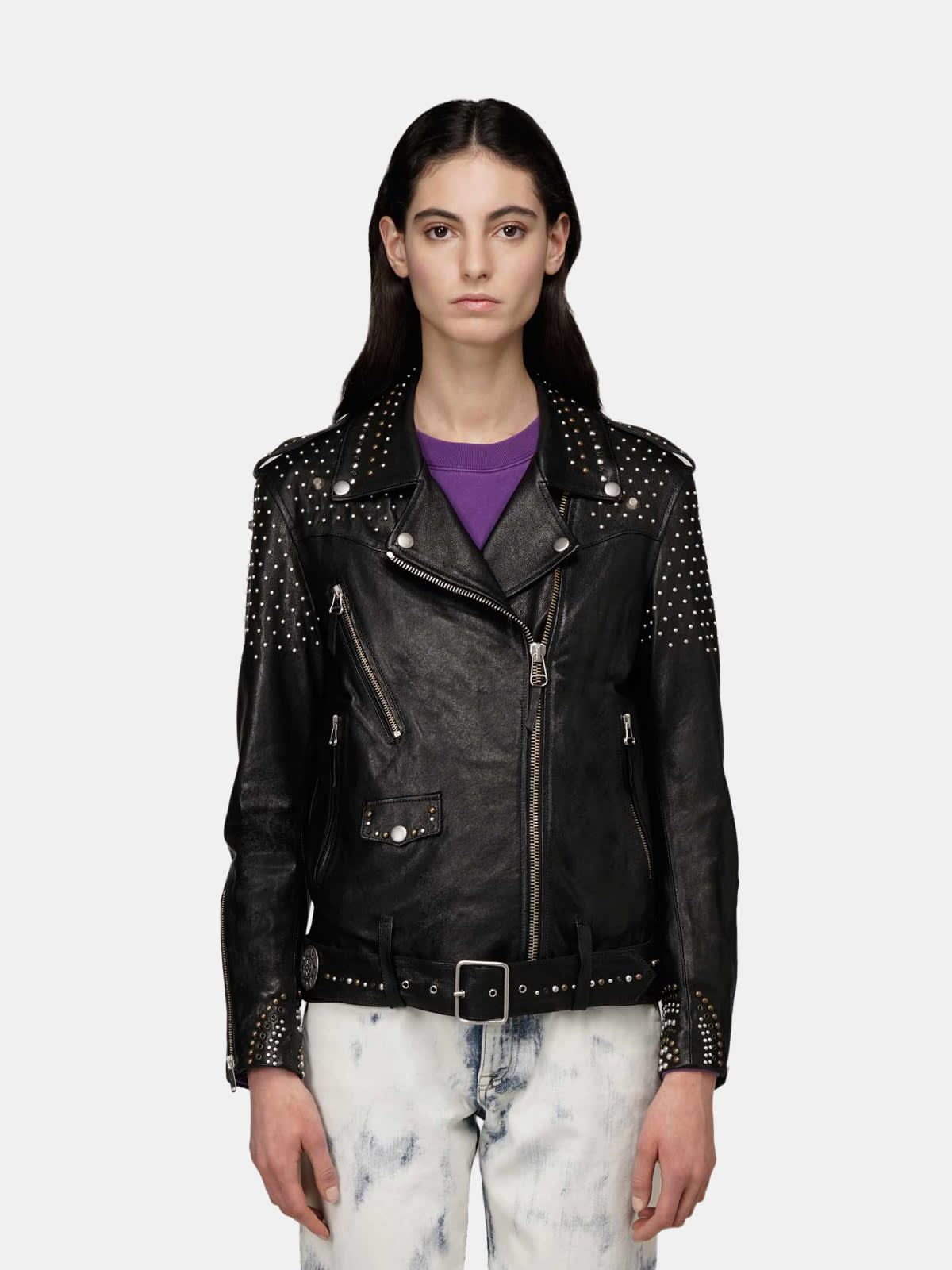Dakota biker jacket with all-over studs