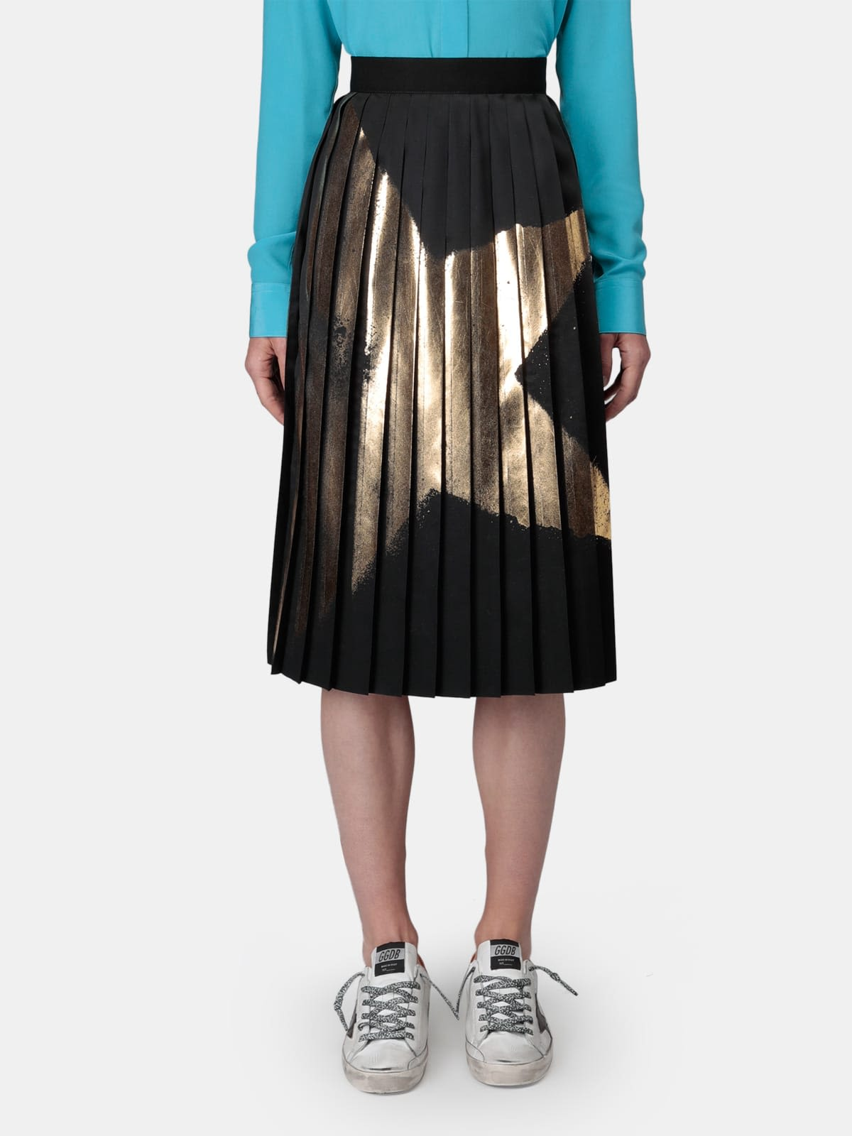 Riley black skirt with pleating and gold star print