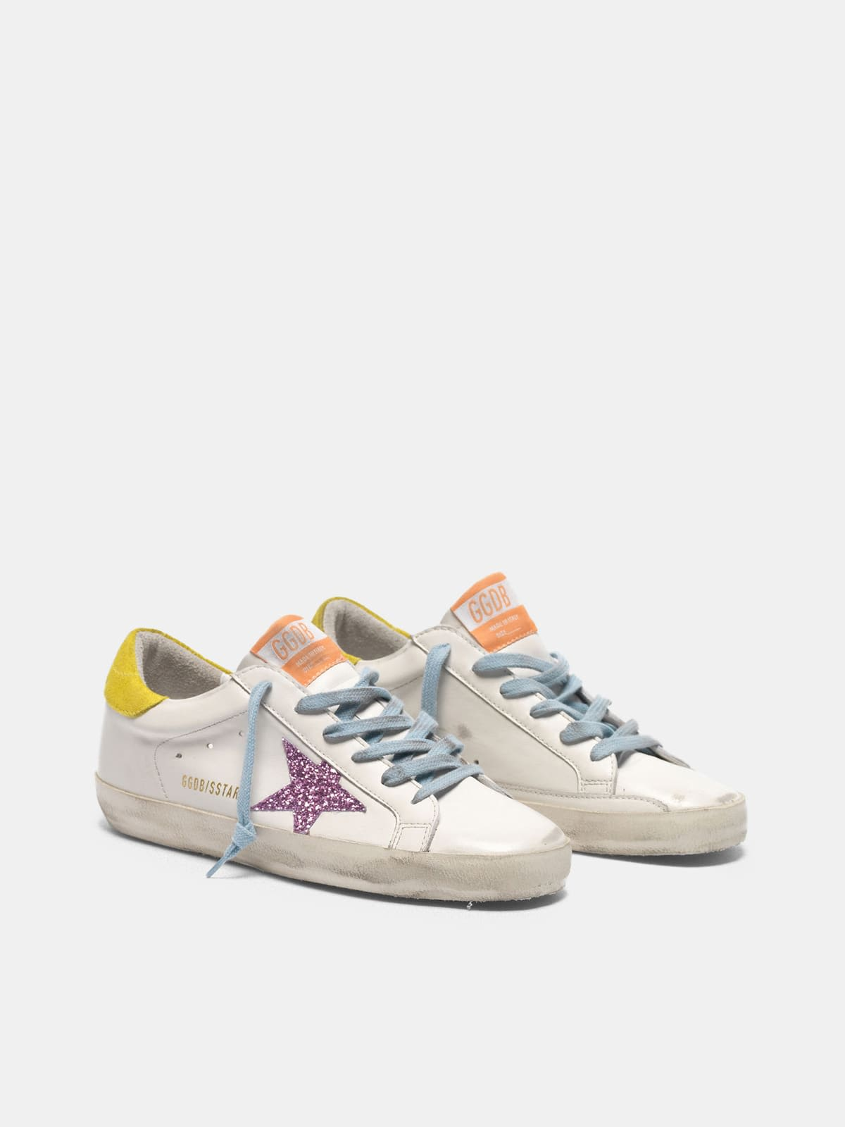 Super-Star sneakers with pink glittery star and yellow heel tab