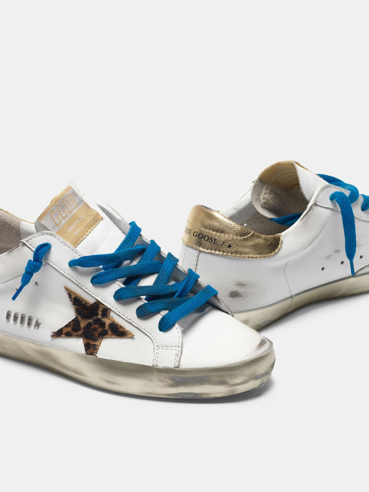 Super-Star sneakers with sparkly foxing and leopard-print star