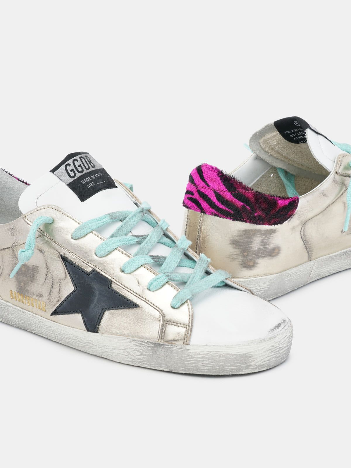 Gold Super-Star sneakers with zebra-print heel tab
