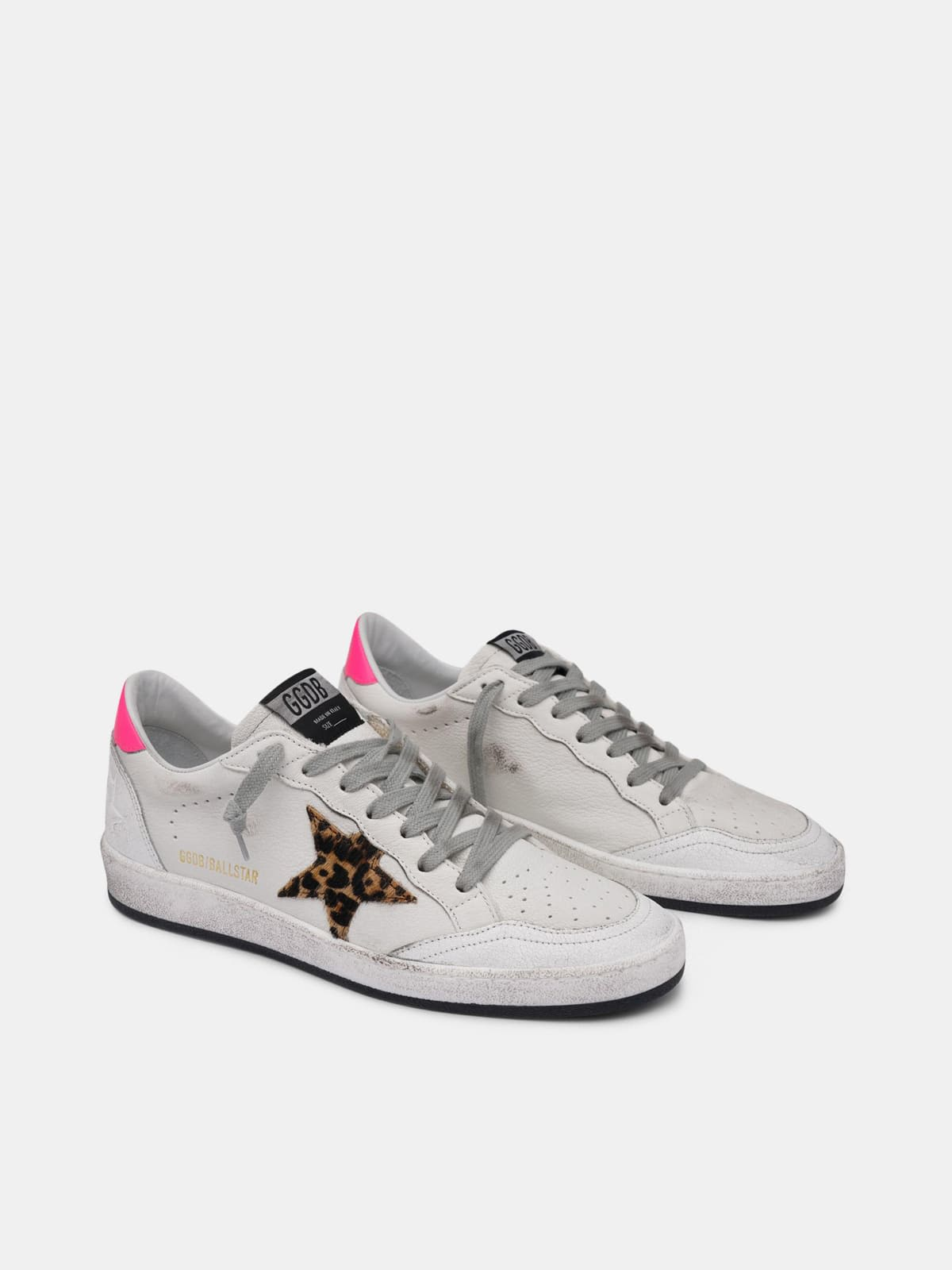 White Ball Star sneakers in leather with leopard-print star