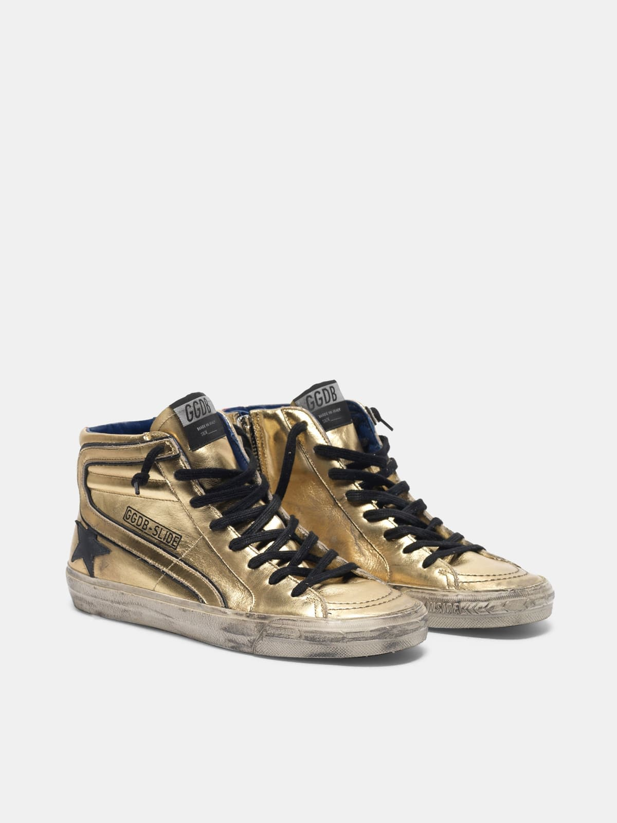Slide sneakers in gold laminated leather