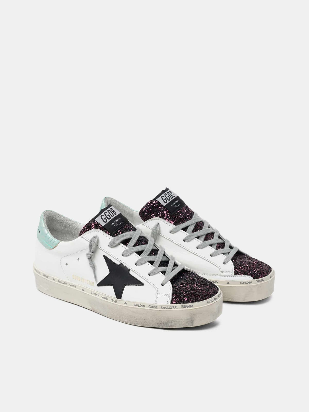 White Hi-Star sneakers with glittery insert and black star