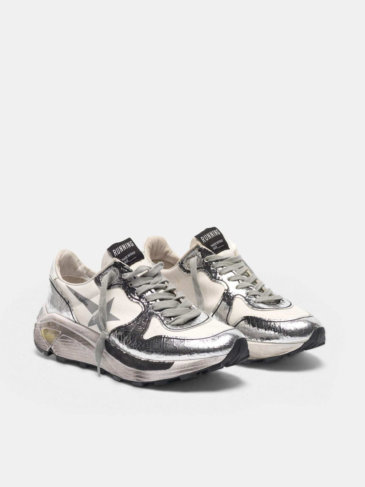 Silver and white Running Sole sneakers