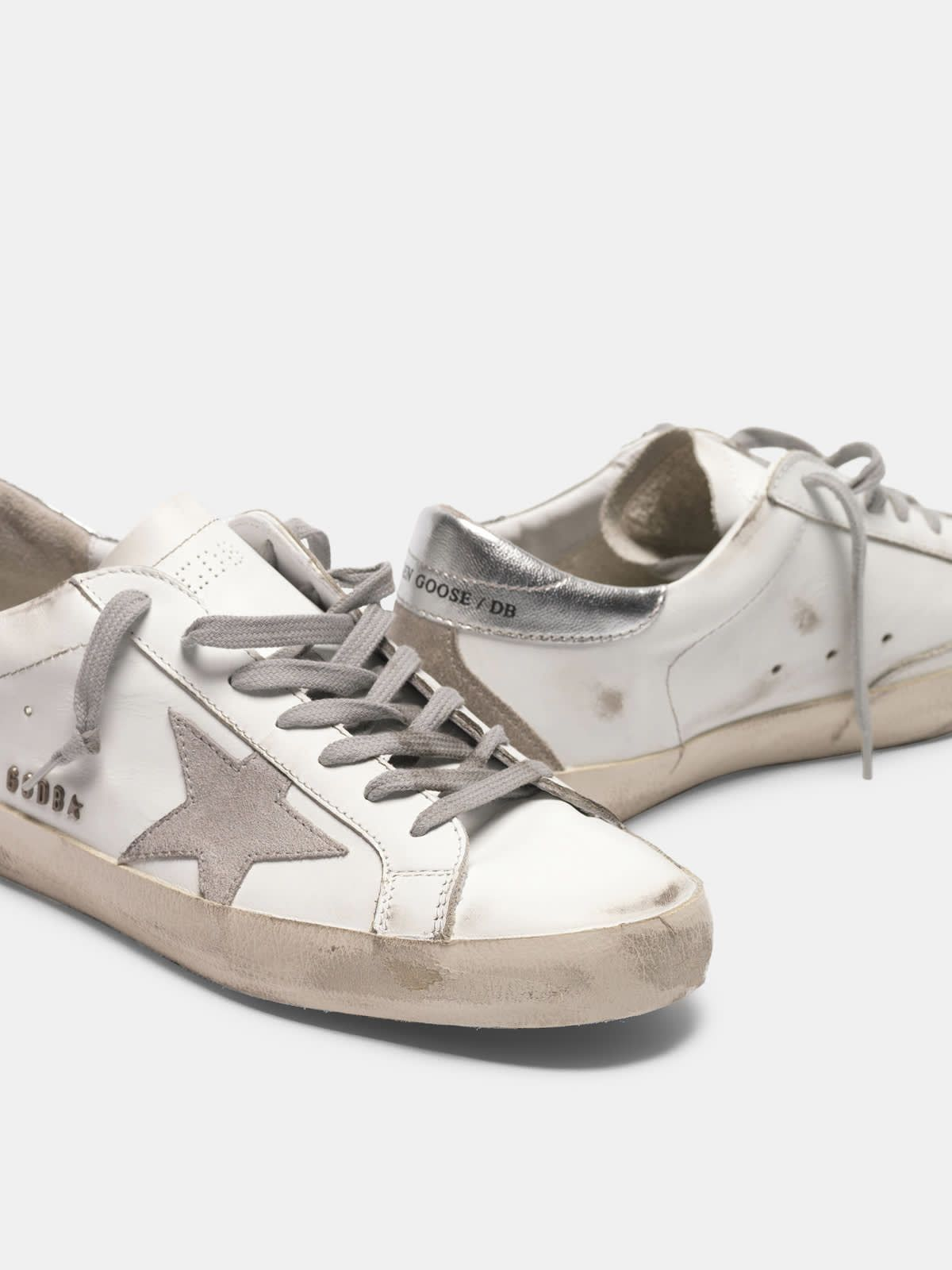 Super-Star sneakers with silver heel tab and metal stud lettering