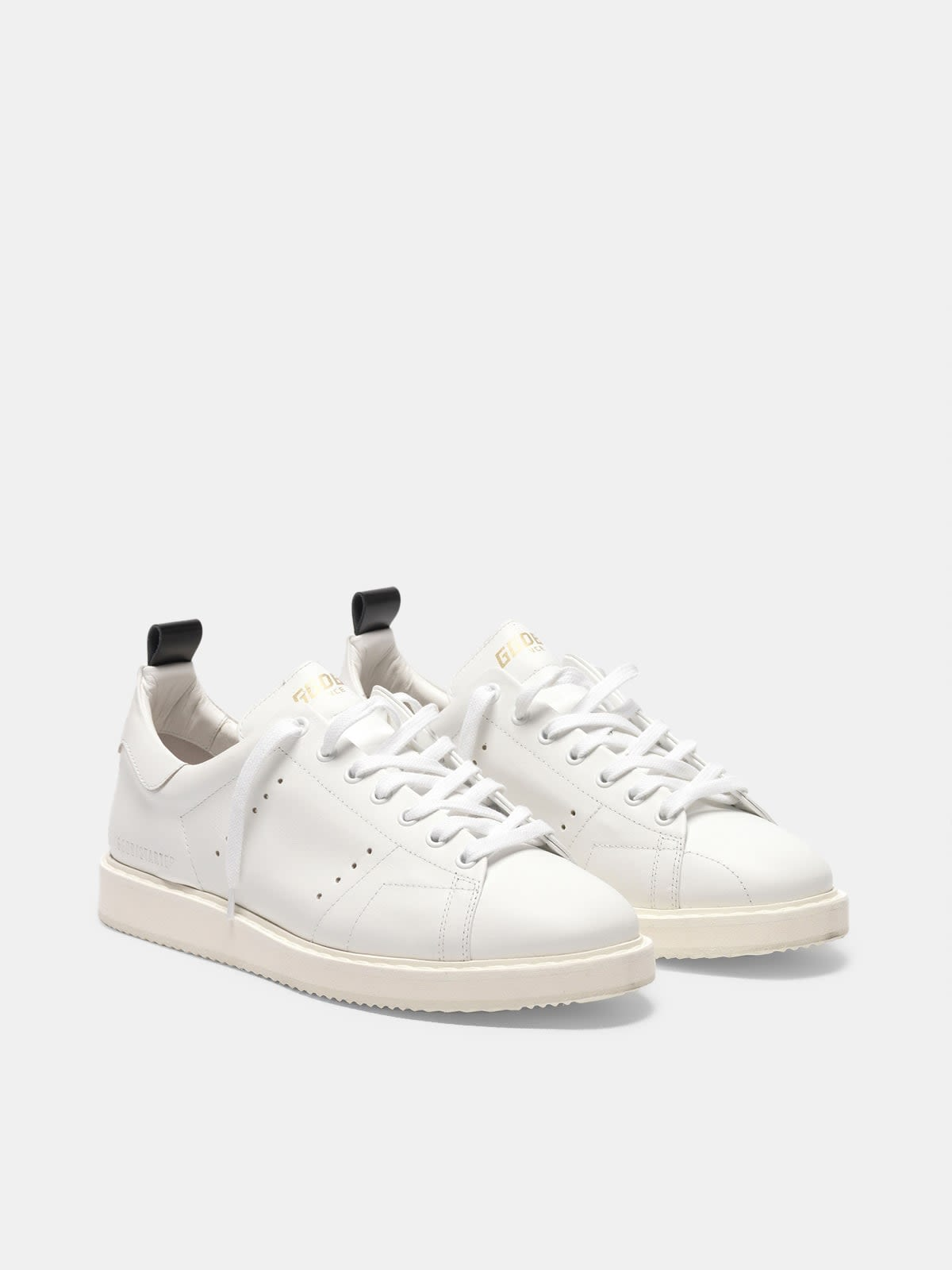 Starter sneakers in leather with printed star on the heel tab