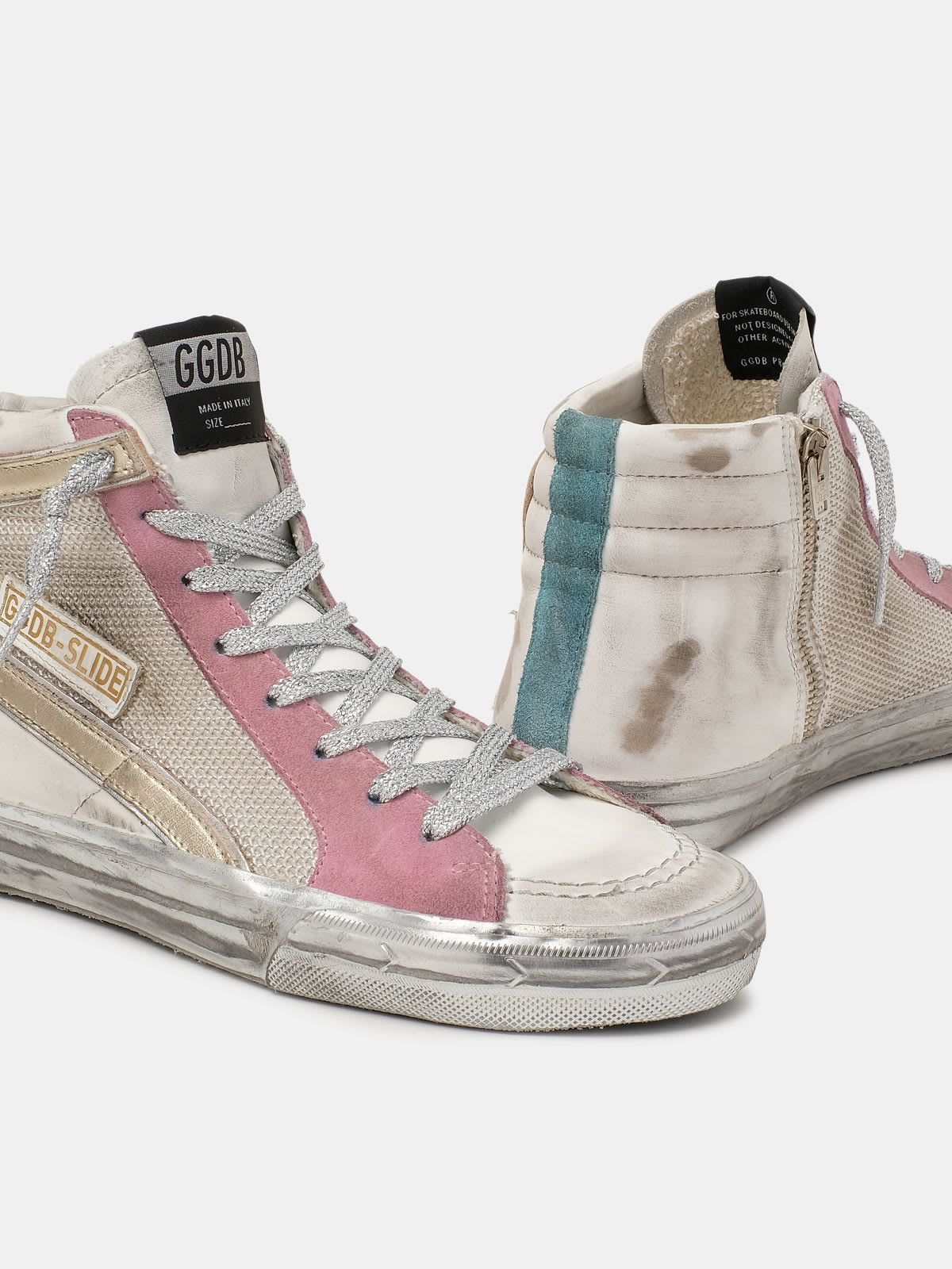 Slide sneakers with white and pink upper
