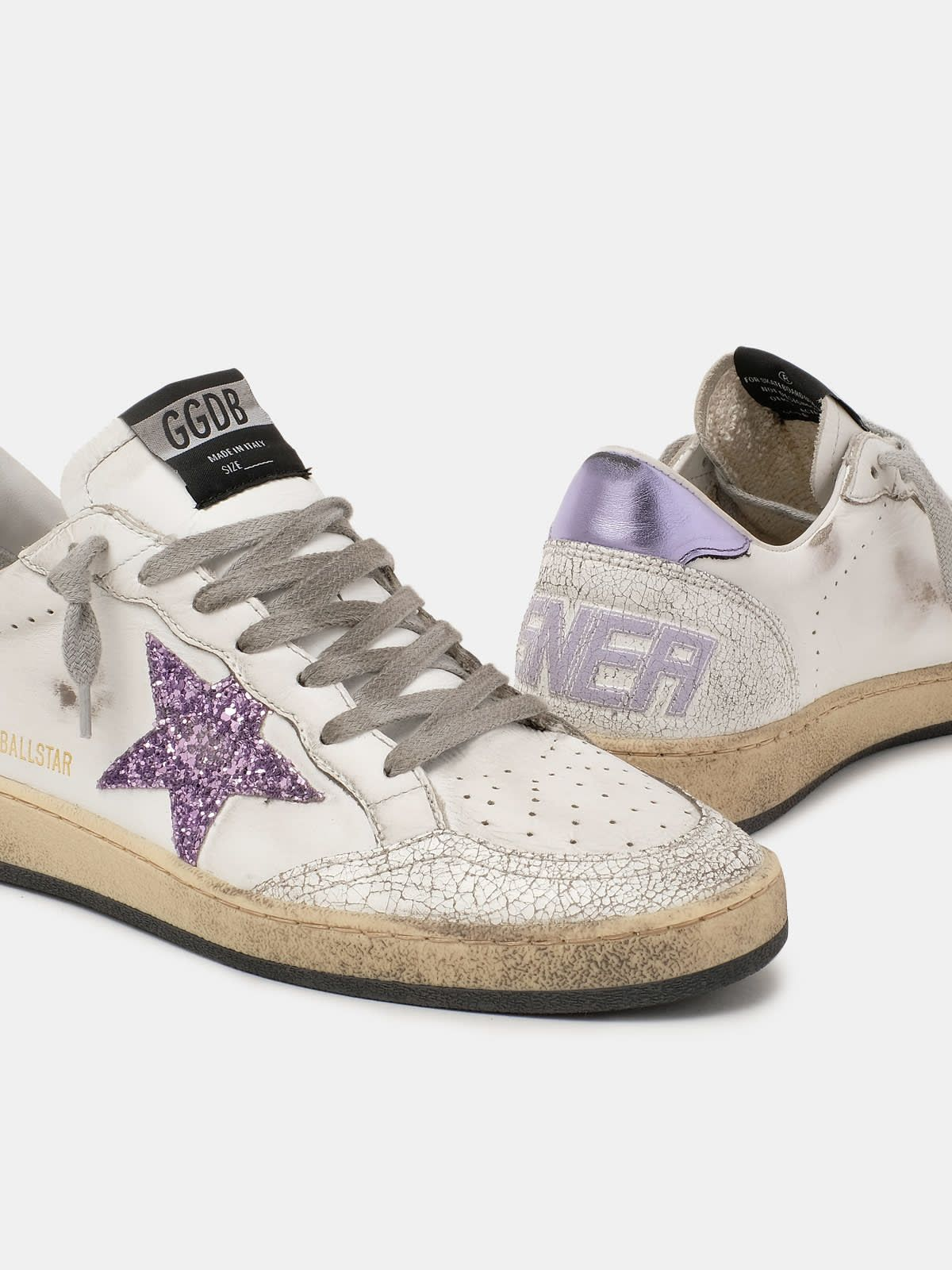 Ball Star sneakers with purple glitter